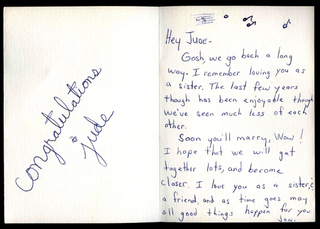 An honest card from Joni when i got married.