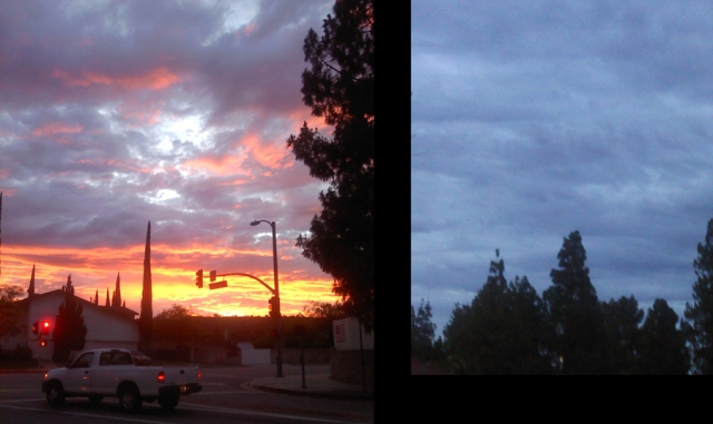 The picture on the left was the sky I used for this song's cover image. I was in awe of that gorgeous sky. It changed from a sunset to darkness very quickly.