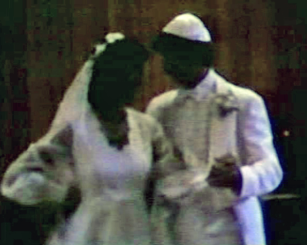 A photo taken from my wedding video from 1981