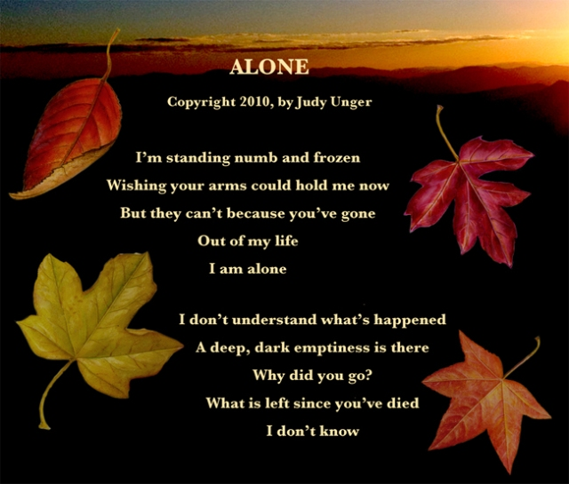 "These are two verses from my song ""Alone."""