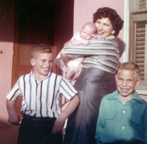 Judy with her mom and brothers
