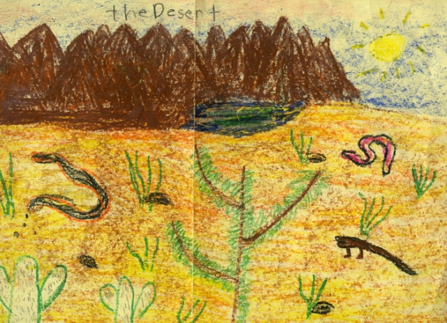 A crayon rendition I made as a young child of a beautiful desert.I reminded how I loved reptiles.