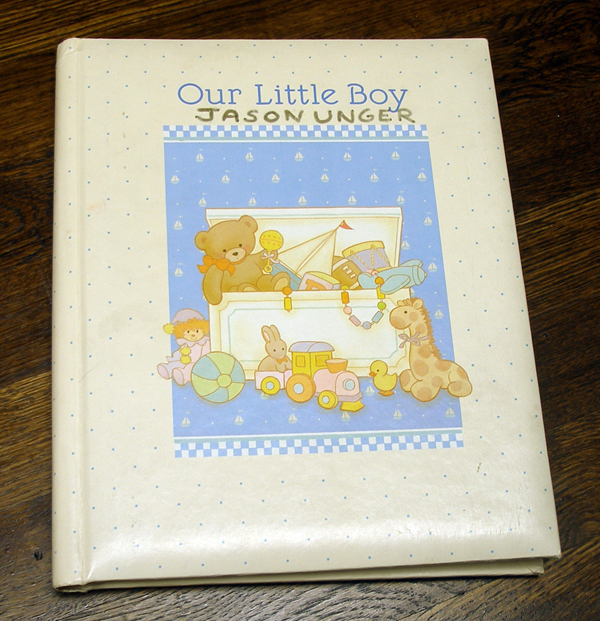 My first-born son's baby book.