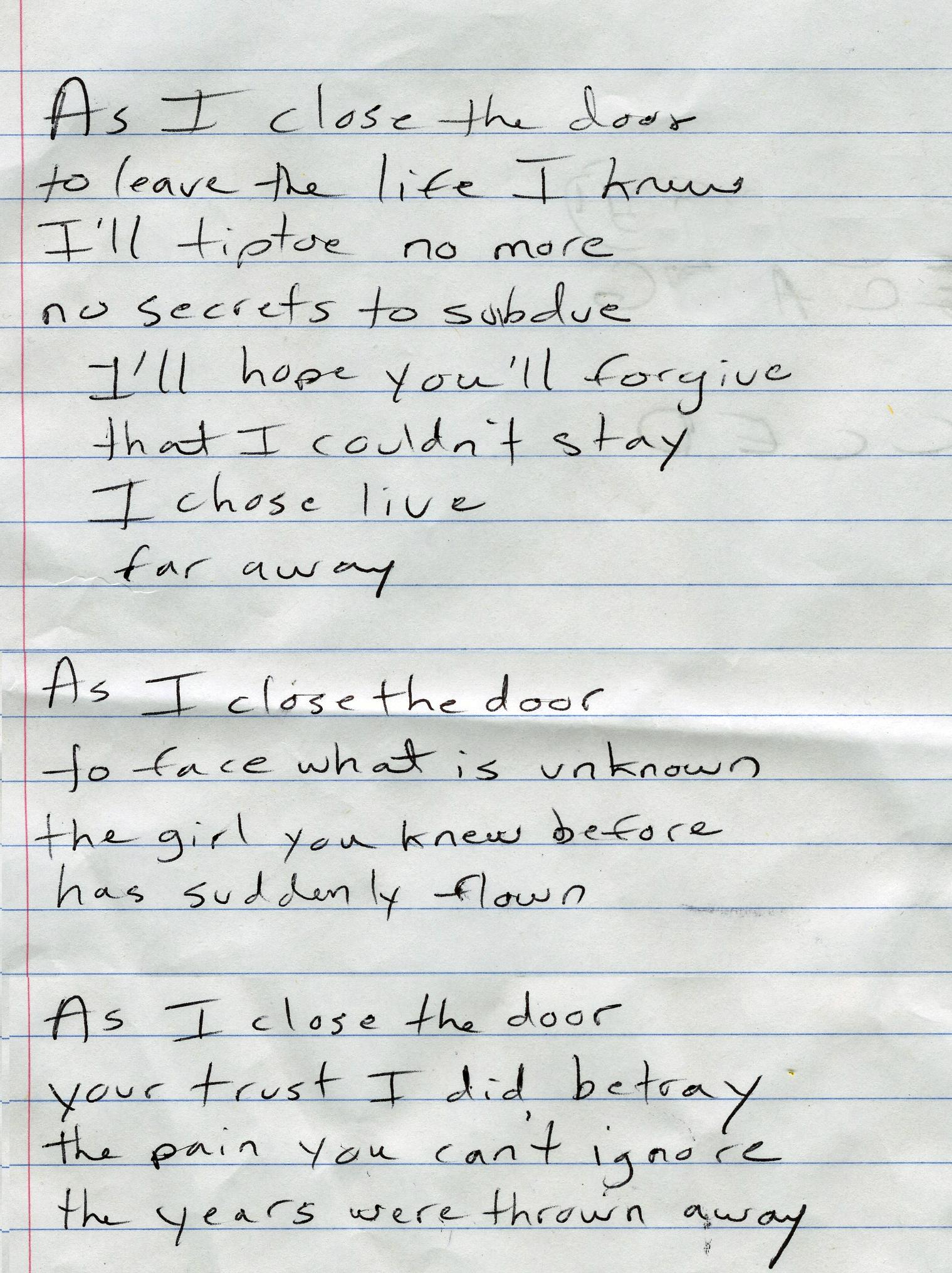 secret door chords & song lyrics with guitar chords for green door