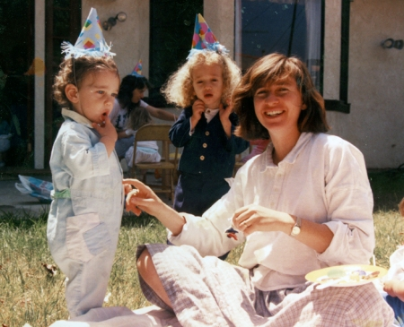 This is a picture of Joni with two of her children. This picture was taken at one of Jason's birthday parties over twenty years ago.
