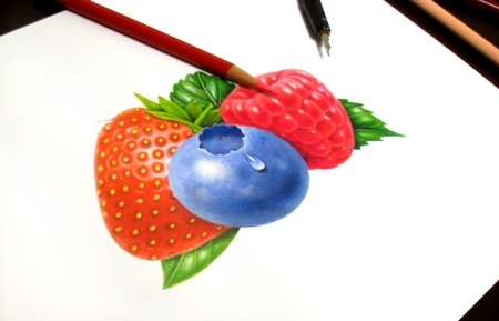 Currently, I am creating many fruit illustrations for a line of yogurt labels.