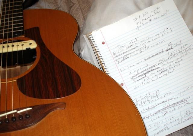 guitar and lyrics close up