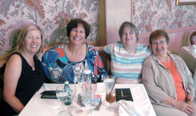 Two weeks ago, I had lunch with my high school choir teacher, Frankie Nobert (on the right). I am flanked by two of my good friends and former classmates. Carol is on my left and Amelie is on my right.