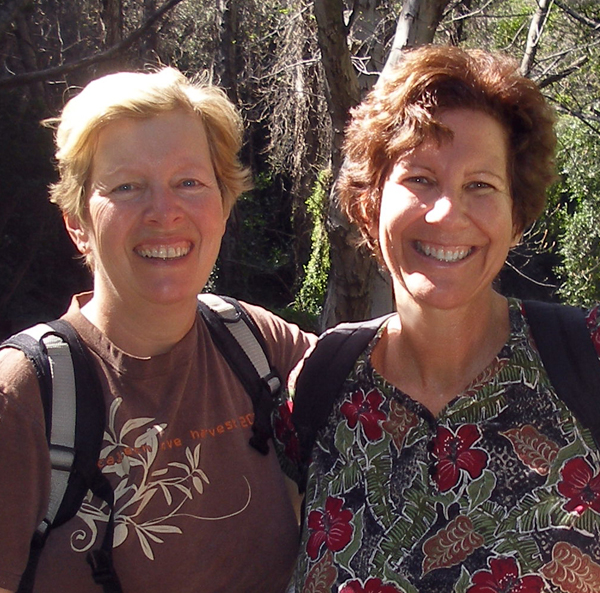Carol and Judy Hiking