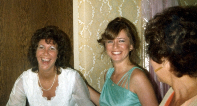 This picture was taken in the dressing room shortly before my wedding. My mother is on the right.