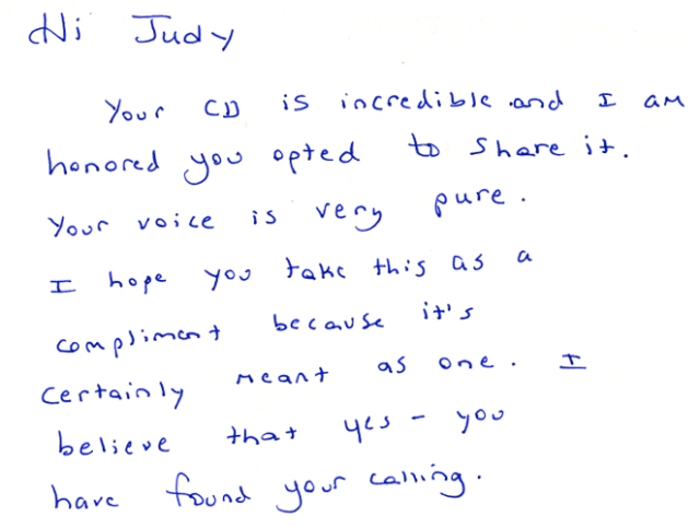 "I freely share CDs of my music and stories. This lovely note came back to me from a fellow blogger in Canada. The line that gives me so much pleasure is: ""Your voice is very pure."""