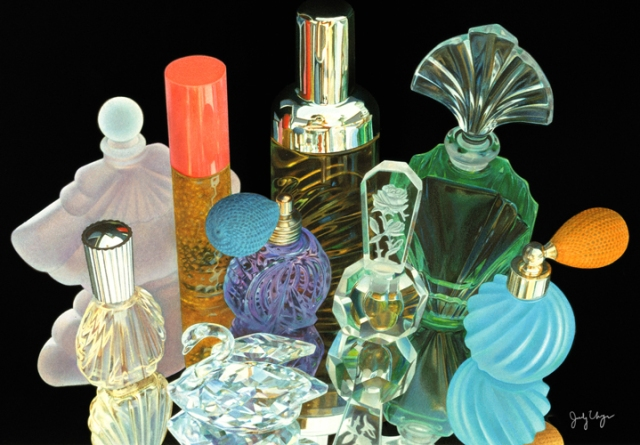 I painted these perfume bottles many years ago. I used watercolor/dye and colored pencils.