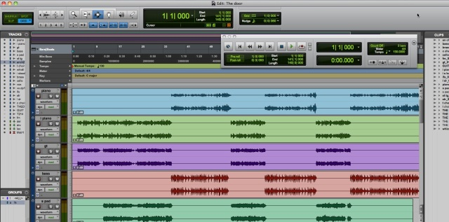 Music Layer visible as colored stripes in the computer program Protools.