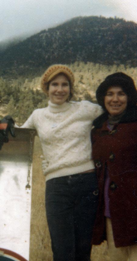 My mom and I on an outing to see snow. I'm in my early teens.