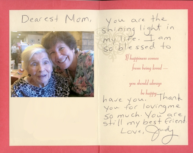 This was the last card I gave my mother in July for her 88th birthday. It was in the drawer next to her bed.