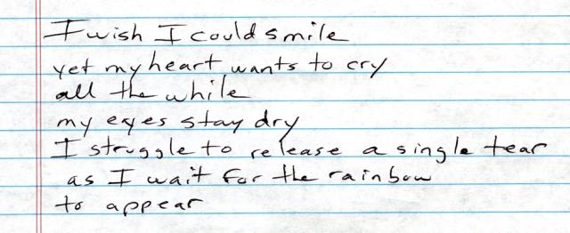 I wish I could smile
