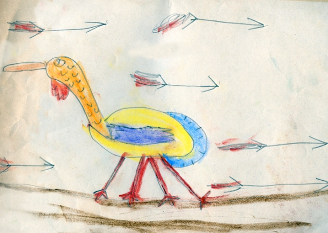 I've been waiting a long to time to share a drawing I made of a turkey as a child. My father saved a lot of my childhood artwork, which I discovered after his death.