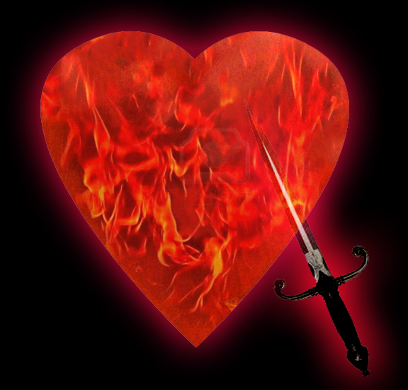 Heart with flames & dagger