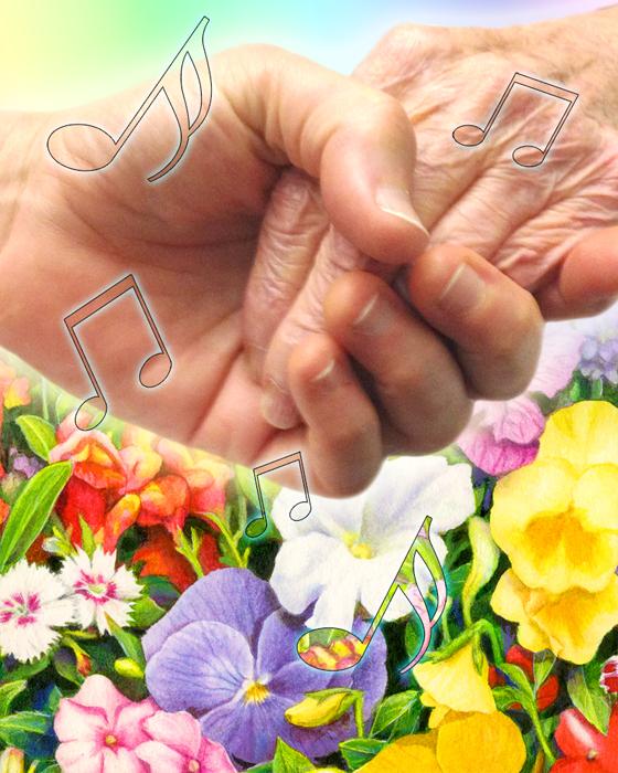 Loving hands in the garden