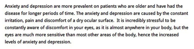 Depression and dry eyes