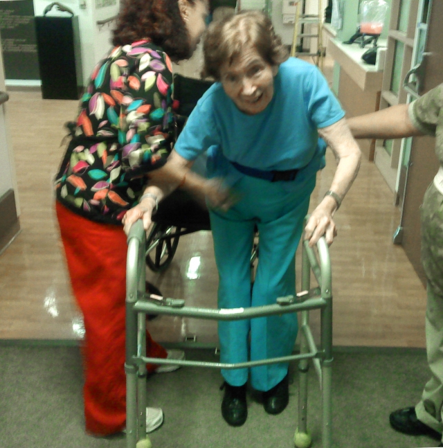 This picture reminds me how my mother was a miracle, because after she broke her hip and didn't have surgery, she lived three years and was able to walk again.