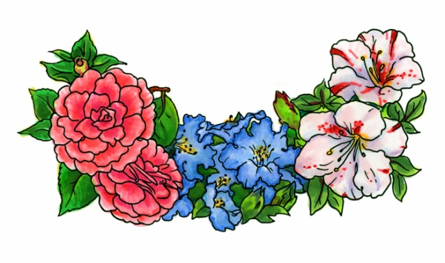 Watercolor Azalea & Camelia