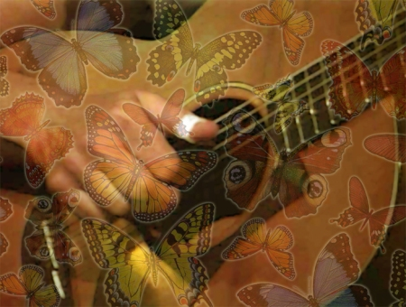 Guitar with Butterflies