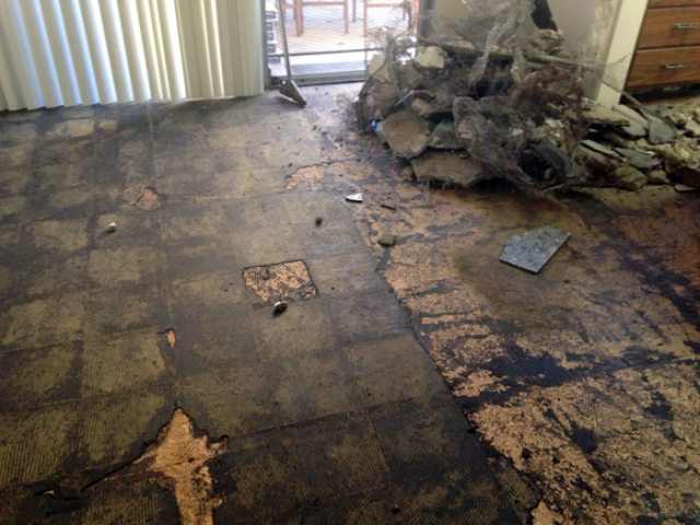 The installation of the new floor ended up taking two days because the kitchen needed a new sub-floor.