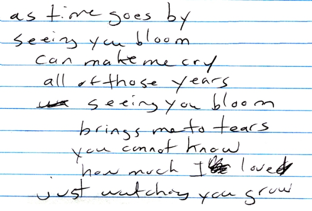 "These are lyrics in progress that I scrawled out while writing my song ""Watching You Grow."""