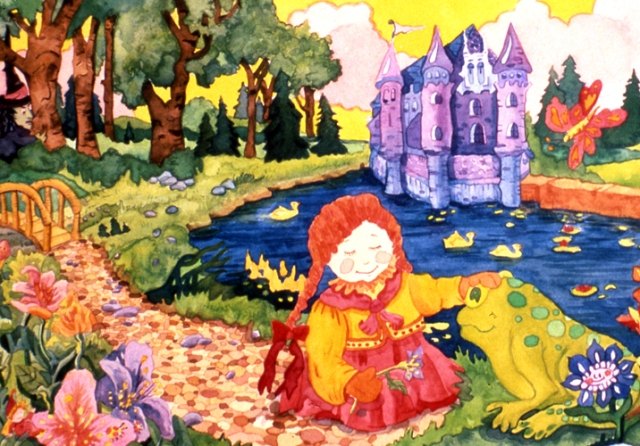 There is a tiny bridge there on the left side. This illustration was one I did in college for a children's book assignment.