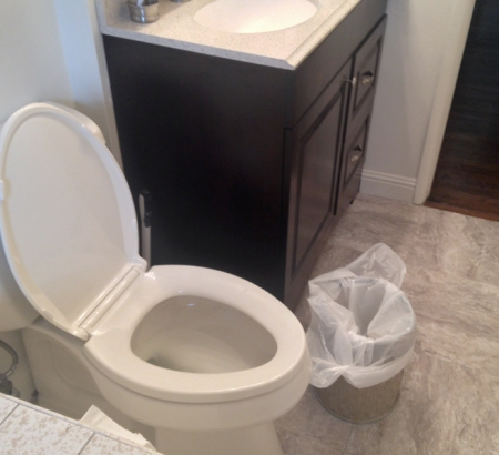 I recently remodeled my bathroom. In the picture above, you can see my new toilet and sink/vanity. But the wastebasket there has been replaced and my story about it will follow!