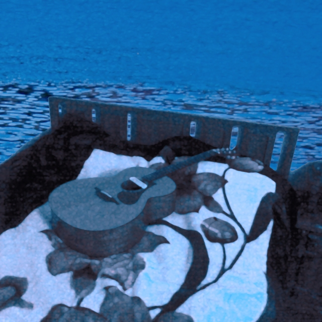 "This is my current image for my song ""I've Always Cared."" The bed with my guitar is sailing across a faraway ocean to somewhere unknown."
