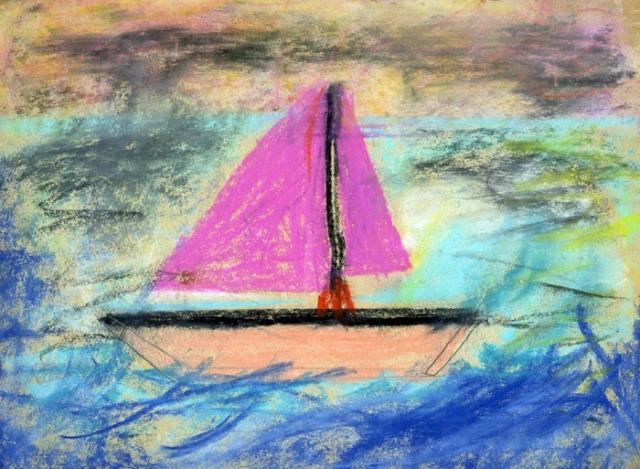 Sailboat in chalk