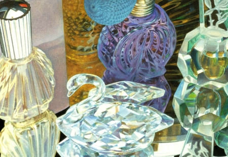 "The crystal swan above was one of my mother's favorites. It is in the painting of mine above called ""Perfume Medley."" I used that image for my song ""You Are My Wings."" Last month, George and I created a new arrangement for it."