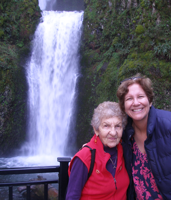 Judy, Sonia and waterfall