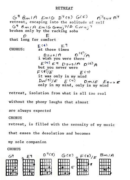 This is my song sheet from 1980 that helped me remember my song. I did not remember the melody for the verses and composed new chords for them 31 years later.