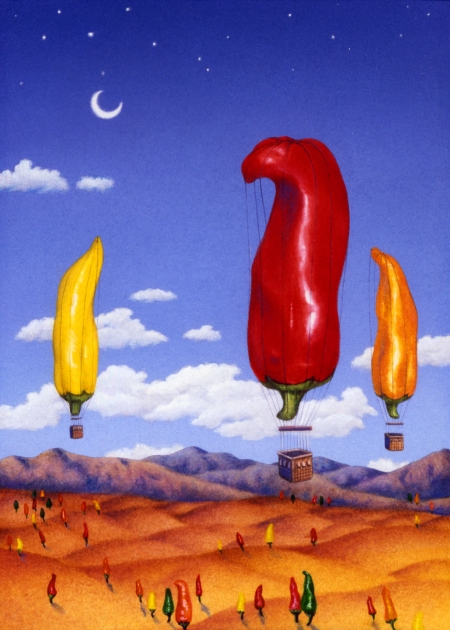 "Yes, I'm soaring somewhere because I'm ""hot stuff!"" (This was a book cover I illustrated many years ago about chili peppers). Actually, the hot summer months have been fairly challenging."
