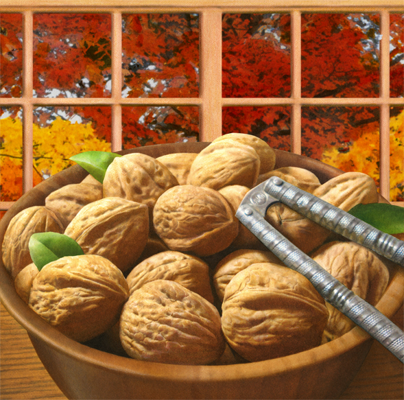 I finished my nut illustration assignment this past week. The backgrounds are identical on both paintings; they were done for a seasonal package.