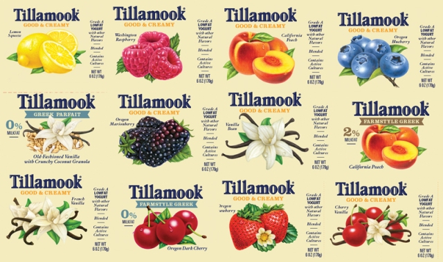 This past week I received a huge project from one of my favorite clients: Tillamook Dairy Company. I have 22 illustrations to work on. The examples above are ones that needed digital adjustments in order to fit a new label design. My artwork will now be more prominent on Tillamook's labels!