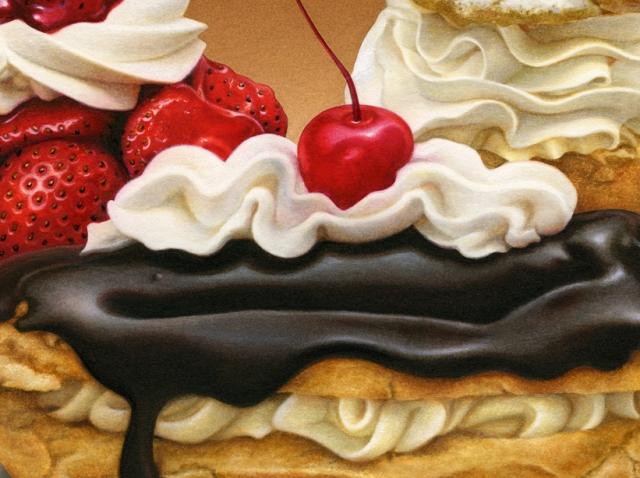 I share a close up of one of my paintings, Dessert Medley. I'm not eating these desserts now.