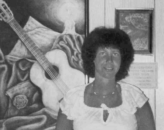 Just for fun, I'm sharing a very old picture. The painting behind me was an album cover illustration assignment. Who knew that 39 years later, I'd actually use it on one of my albums!