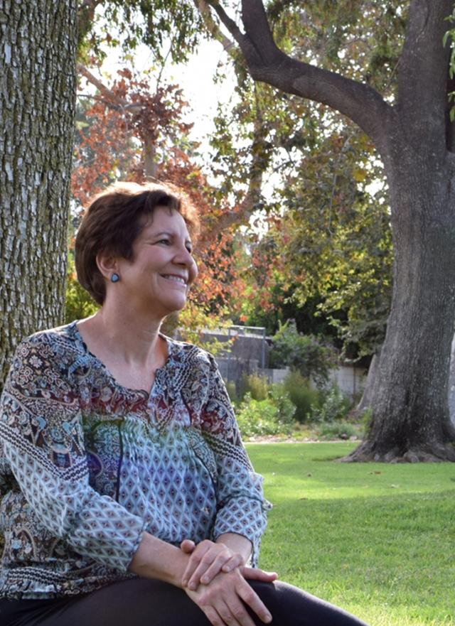 Judy near the tree